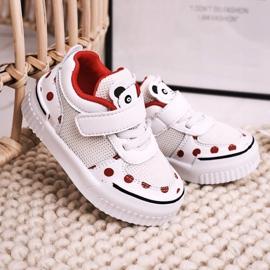 Apawwa Dziecięce Sportowe Buty Z Pandą Biało Czerwone Chico białe 2
