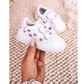 Apawwa Dziecięce Sportowe Buty Ze Świecącą Podeszwą Led Biało-Różowe Boomer białe 2
