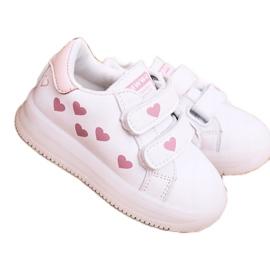 Apawwa Dziecięce Sportowe Buty Ze Świecącą Podeszwą Led Biało-Różowe Boomer białe 1