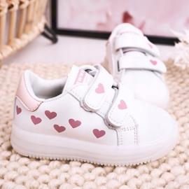 Apawwa Dziecięce Sportowe Buty Ze Świecącą Podeszwą Led Biało-Różowe Boomer białe 3