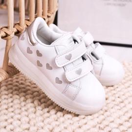 Apawwa Dziecięce Sportowe Buty Ze Świecącą Podeszwą Led Biało-Srebrne Boomer białe srebrny 2