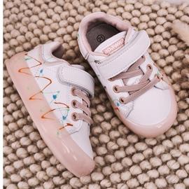 Apawwa Dziecięce Sportowe Buty Ze Świecącą Podeszwą Led Biało-Różowe Disco 4