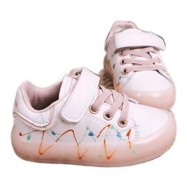 Apawwa Dziecięce Sportowe Buty Ze Świecącą Podeszwą Led Biało-Różowe Disco 2