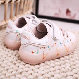 Apawwa Dziecięce Sportowe Buty Ze Świecącą Podeszwą Led Biało-Różowe Disco 3