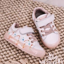 Apawwa Dziecięce Sportowe Buty Ze Świecącą Podeszwą Led Biało-Różowe Disco 5