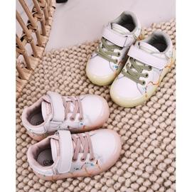 Apawwa Dziecięce Sportowe Buty Ze Świecącą Podeszwą Led Biało-Różowe Disco 6