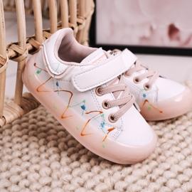 Apawwa Dziecięce Sportowe Buty Ze Świecącą Podeszwą Led Biało-Różowe Disco 7