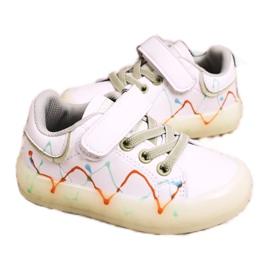 Apawwa Dziecięce Sportowe Buty Ze Świecącą Podeszwą Led Biało-Zielone Disco białe pomarańczowe 2