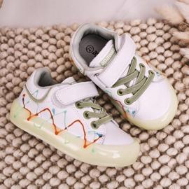Apawwa Dziecięce Sportowe Buty Ze Świecącą Podeszwą Led Biało-Zielone Disco białe pomarańczowe 3