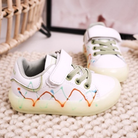 Apawwa Dziecięce Sportowe Buty Ze Świecącą Podeszwą Led Biało-Zielone Disco białe pomarańczowe 4