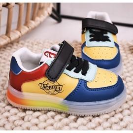 Apawwa Dziecięce Sportowe Buty Ze Świecącą Podeszwą Led Wielokolorowe Scooter niebieskie żółte 3