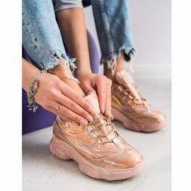 Ideal Shoes Sneakersy Z Efektem Holo różowe 2
