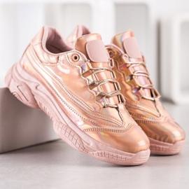 Ideal Shoes Sneakersy Z Efektem Holo różowe 1