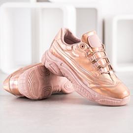 Ideal Shoes Sneakersy Z Efektem Holo różowe 4