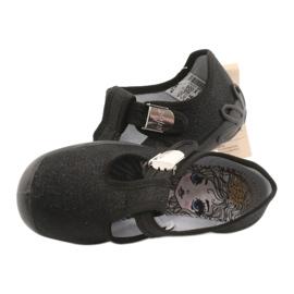 Befado  obuwie dziecięce blanka czarna 115X006 czarne srebrny 7