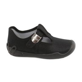 Befado  obuwie dziecięce blanka czarna 115X006 czarne srebrny 2