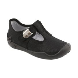 Befado  obuwie dziecięce blanka czarna 115X006 czarne srebrny 3