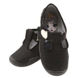 Befado  obuwie dziecięce blanka czarna 115X006 czarne srebrny 6