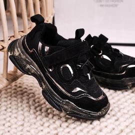 Apawwa Dziecięce Sportowe Buty Sneakersy Z Przezroczystą Podeszwą Czarne Bailey 1