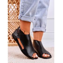Nicole Damskie Płaskie Skórzane Sandały Czarne Natalie 5
