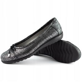 Dolce Pietro Baleriny damskie 2105 czarno-srebrne czarne 3