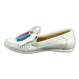 Lewski Mokasyny damskie 2673 biała perła białe 1