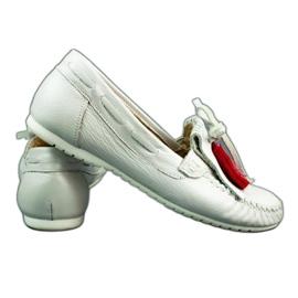 Lewski Mokasyny damskie 2673 biała perła białe 4