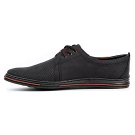 Polbut Skórzane buty męskie 343 perforacja czarne 1