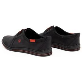Polbut Skórzane buty męskie 343 perforacja czarne 6