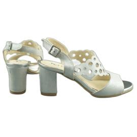 Dolce Pietro Zamszowe sandały damskie na słupku 2083 biało-srebrne białe srebrny wielokolorowe 4