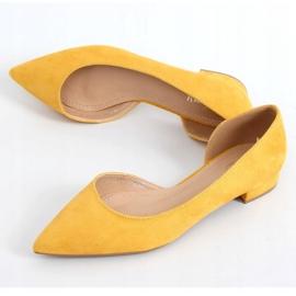 Baleriny z wycięciem miodowe MM-593 Yellow żółte 1