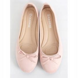 Baleriny zamszowe różowe 9F116 Pink 1