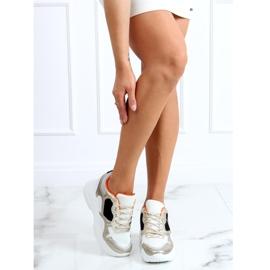 Buty sportowe na koturnie biało-złote 3171 Gold białe złoty 3