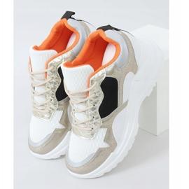 Buty sportowe na koturnie biało-złote 3171 Gold białe złoty 1