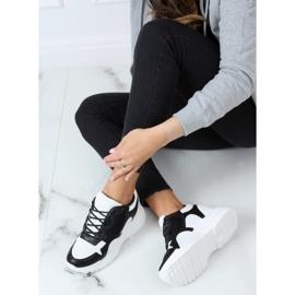 Buty sportowe na koturnie biało-czarne 3171 Black białe 3
