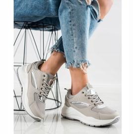 Ideal Shoes Stylowe Sneakersy Sportowe beżowy szare 5