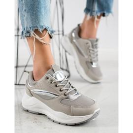 Ideal Shoes Stylowe Sneakersy Sportowe beżowy szare 4