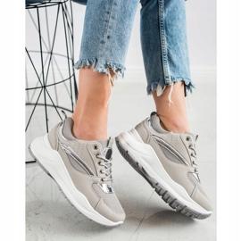Ideal Shoes Stylowe Sneakersy Sportowe beżowy szare 1
