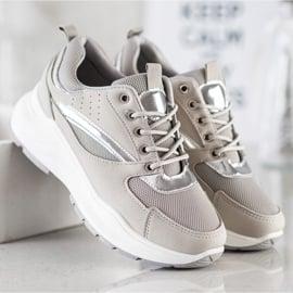 Ideal Shoes Stylowe Sneakersy Sportowe beżowy szare 2