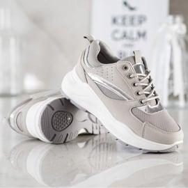 Ideal Shoes Stylowe Sneakersy Sportowe beżowy szare 3