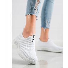 SHELOVET Wygodne Tekstylne Sneakersy białe 2
