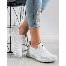SHELOVET Wygodne Tekstylne Sneakersy białe 3