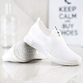 SHELOVET Wygodne Tekstylne Sneakersy białe 4