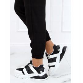 Buty sportowe damskie biało-czarne LA86P Black białe 3