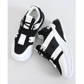 Buty sportowe damskie biało-czarne LA86P Black białe 4
