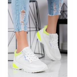 SHELOVET Sneakersy Z Żółtymi Wstawkami białe 4
