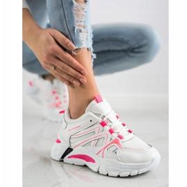 SHELOVET Sneakersy Z Różową Wstawką białe różowe 1