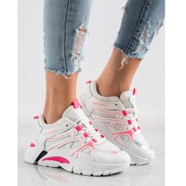 SHELOVET Sneakersy Z Różową Wstawką białe różowe 2