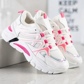 SHELOVET Sneakersy Z Różową Wstawką białe różowe 3