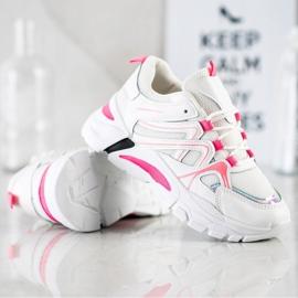 SHELOVET Sneakersy Z Różową Wstawką białe różowe 4